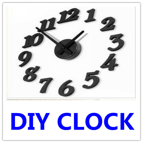 1 X Wall Clocks Black White New DIY Modern Home Office Deco Clock Self Adhesive