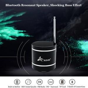 Image 2 - ADIN Mini 15W In Metallo di Vibrazione Altoparlante Senza Fili di Bluetooth HiFi Bass 3D Stereo Surround FM Radio TF Subwoofer Con Telecomando di controllo