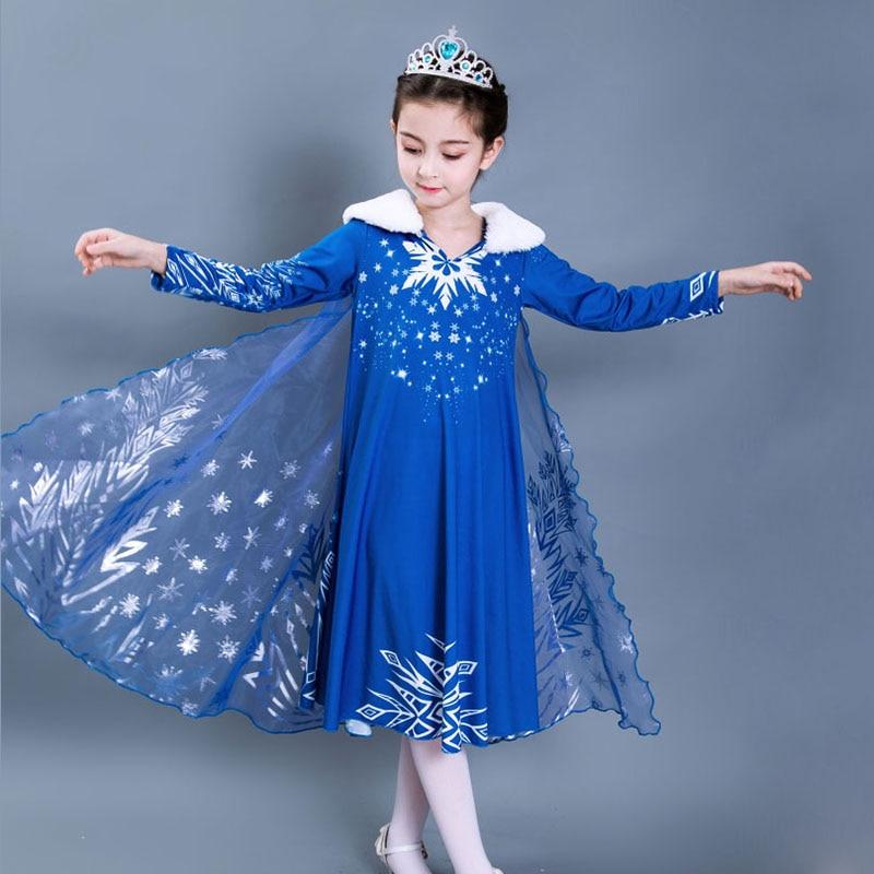 2018 Children Fantasy Girls Fancy Elsa Dress  Kids Carnival Party Dress Girl Snow Queen Princess Dress Baby Girl Winter Clothes