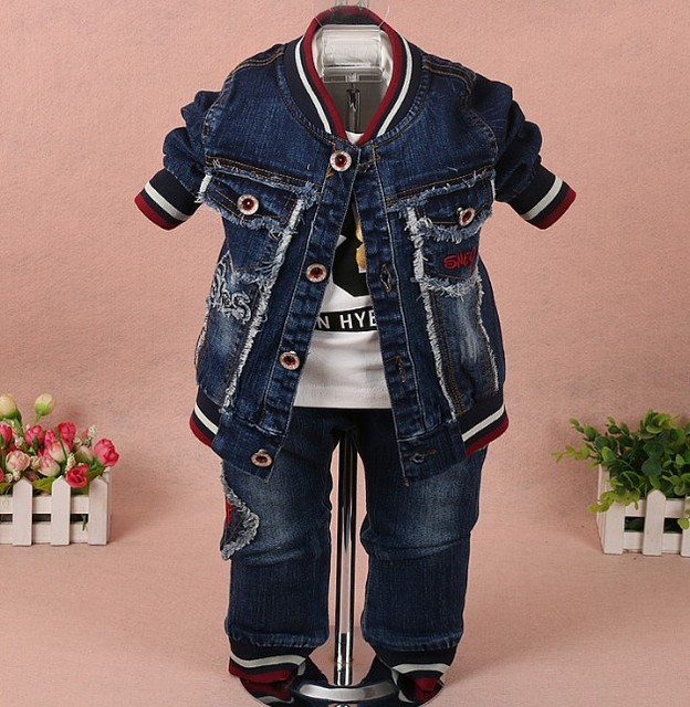new 2017 spring boys denim jacket+t shirt+pant clothing sets 3pcs kids clothes sets boys spring autumn clothes sets boys jeans