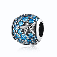 Oceanic Starfish Frosty Mint CZ Crystal Bead Charm DIY Jewelry Making Fit Pandora Bracelet Bangle Authentic