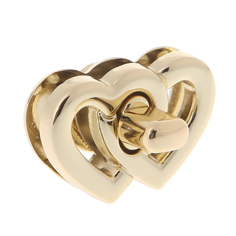 New Metal Heart Clasp Buckles Turn Lock Twist Locks For Handbag Bag Purse Craft Gold DIY Bag Accessories 2018