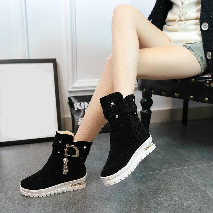 Acolchado Invierno De Zapatos Plataforma Negro Planos Swing Nuevas Además Botines Térmicos rojo Nieve Mujeres Terciopelo 2017 Algodón khaki Mujer Botas gtOw4