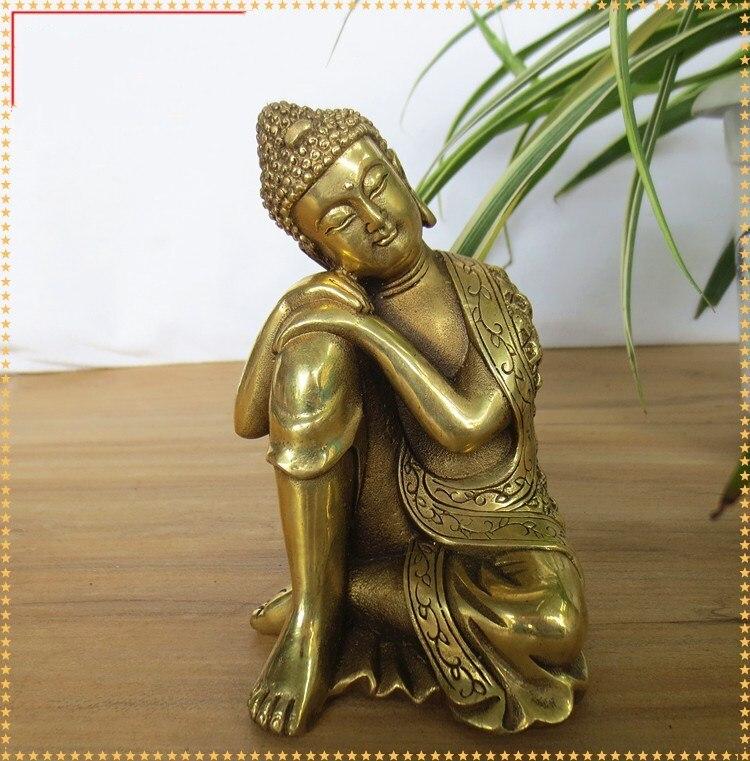 Tibet old Buddhism Brass Seat Sleeping Shakyamuni Amitabha Buddha Robe