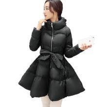 New Arrival Bow Waist Fluffy Skirt A Warm Coat Jacket Parkas For Women Winter Women Down And Parkas 2016 Long Women Coat