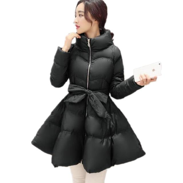 New Arrival Bow Waist Fluffy Skirt A Warm Coat Jacket Parkas For Women Winter Women Down And Parkas 2016 Long Women Coat