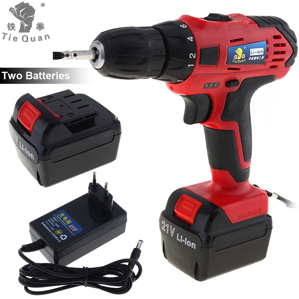 цена на Cordless 21V Mini Electric Drill Screwdriver Power Tools with Rechargeable Lithium Battery Two-speed Adjustment Button