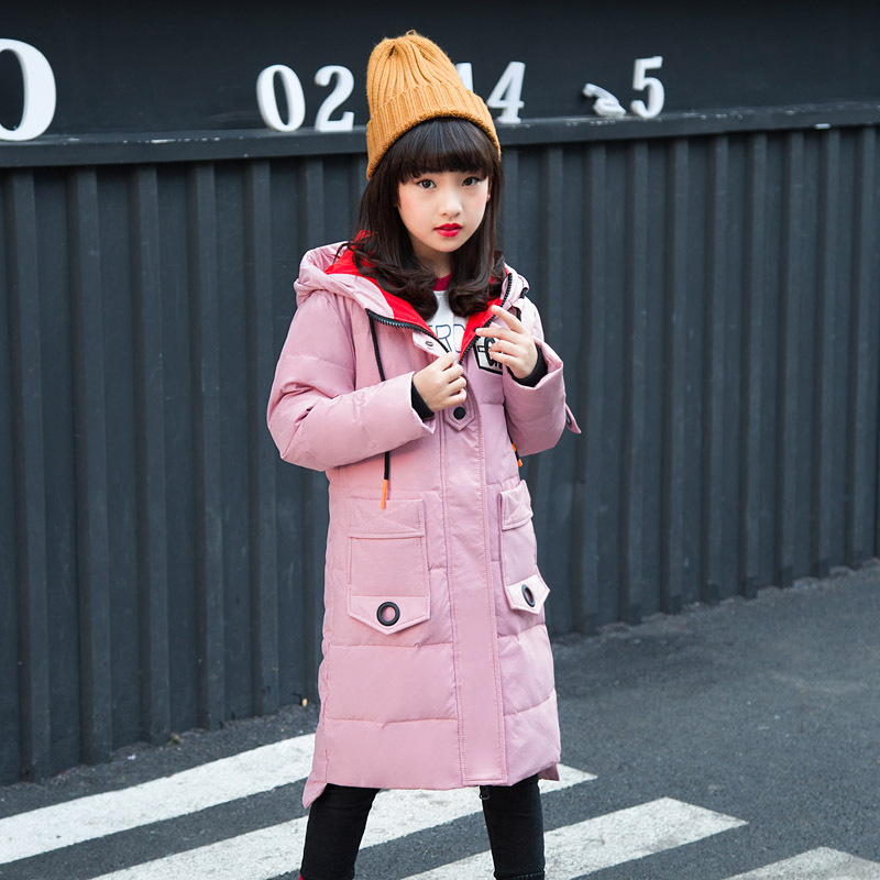2018 Fashion warm for cold winter children duck down jacket natural fur collar long thick winter jacket girls child coat outwear стоимость