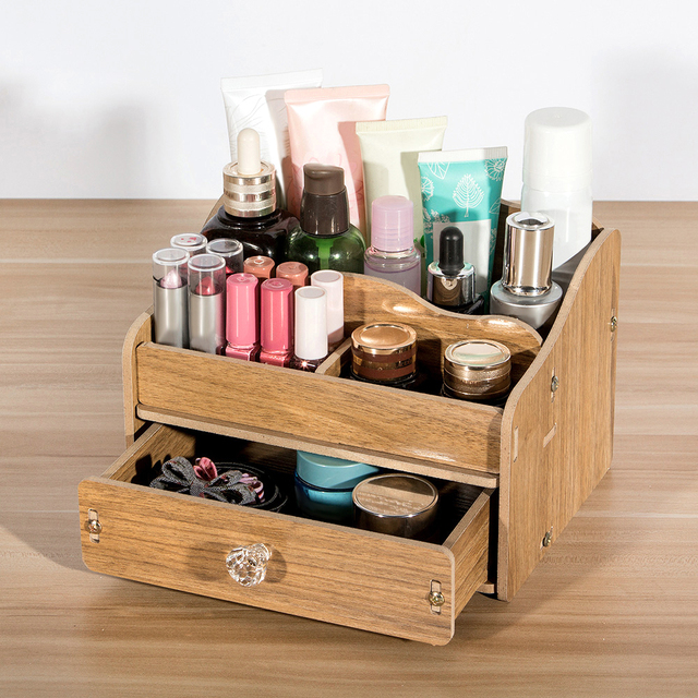 DIY Wooden Makeup Storage Box Organizer for Jewelry Cosmetic case