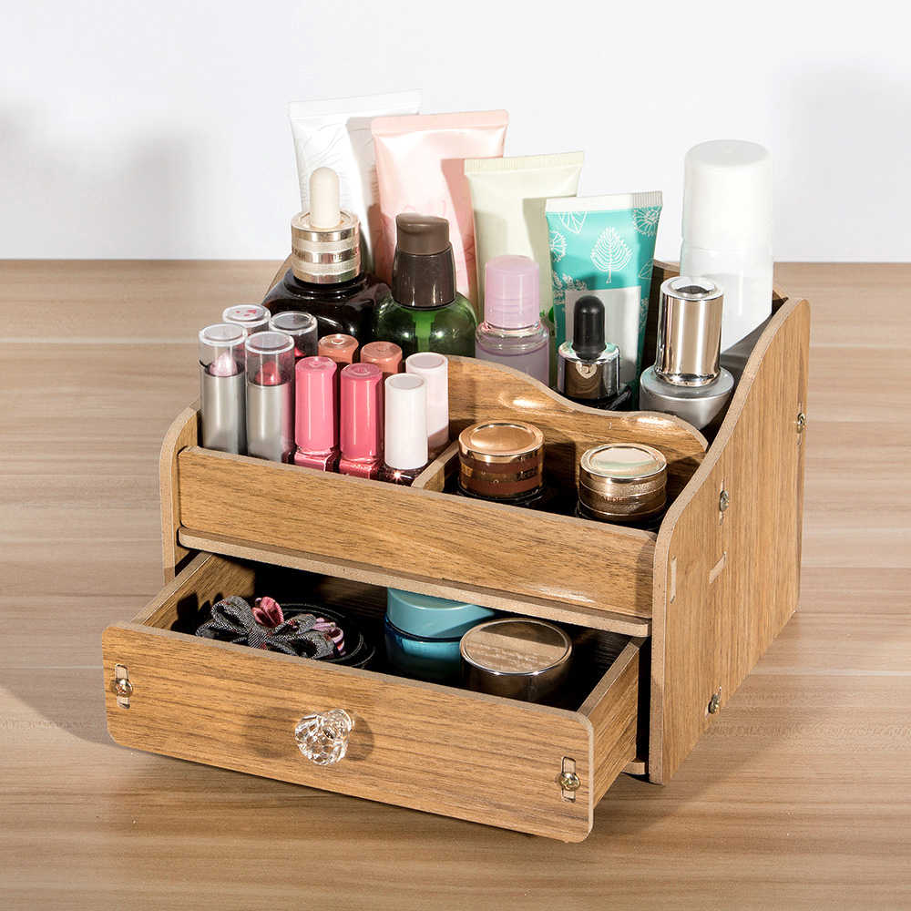 Diy Wooden Makeup Storage Box Organizer For Jewelry Cosmetic Case Office Supplies Desktop Organizer Holder Container With Drawer Storage Boxes Bins Aliexpress