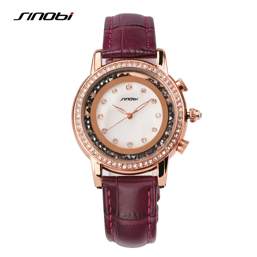 2016 Hot Sale SINOBI Brand Leather Strap Watches Women Diamond Around Quartz-watch Ladies Luxury Wristwatches Relogio Feminino relogio feminino sinobi watches women fashion leather strap japan quartz wrist watch for women ladies luxury brand wristwatch