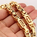 Customized Size 7-40 inch 6/8mm 316L Stainless Steel Gold Tone Men's Byzantine Link Chain Necklace Or Bracelet Bangle