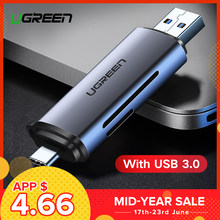 Ugreen Card Reader USB 3.0 SD/Micro SD TF OTG Smart Memory Card Adapter for Laptop USB 3.0 Type C Cardreader SD Card Reader(China)