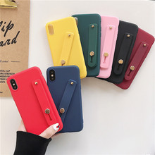 Simple Candy Macaron Solid Color Wrist Strap Hand Band Soft Silicon Case For Redmi Note 7 Pro 6 6A  Ultra Thin Cover