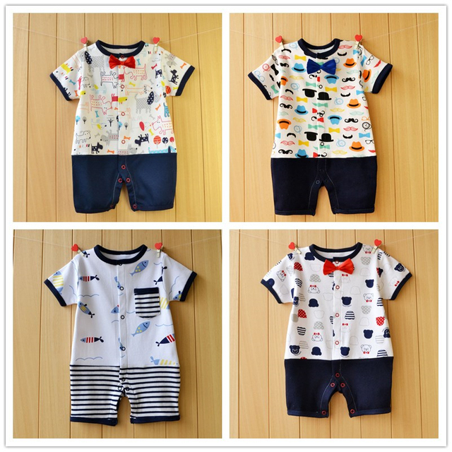 c4b9920ecac5 Clearance Sale Cotton Baby Boy Rompers Patchwork Print Boy Clothing Short  Sleeve Newborn Boys Jumpsuit Summer Kids Clothes
