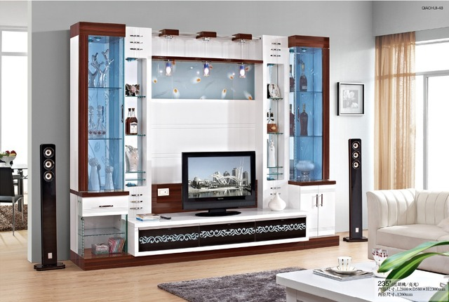 Furniture Fashion Tv Cabinet White Solid Wood French Style Storage Combination