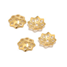 Gold Tone Stainless Steel Crafts End Beads Caps Hollow Flower Beads Cover Assorted Set for Jewelry Making 6mm/10mm(China)