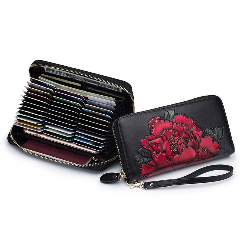Peony Hand-painted Split Leather Women Long Wallet Rfid Zipper Ladies Evening Clutch Wallet Large Capacity Floral Female Purse