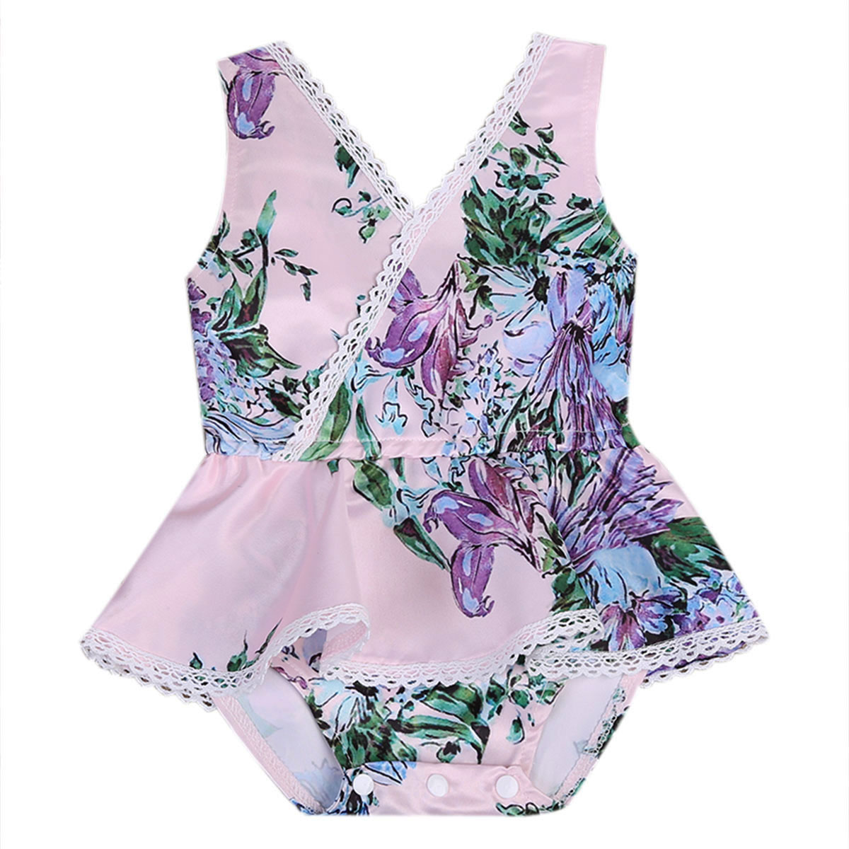 Fashion Floral Baby Girls Lace Lily Romper Jumpsuit One-Pieces Summer Outfits Cotton Clothes