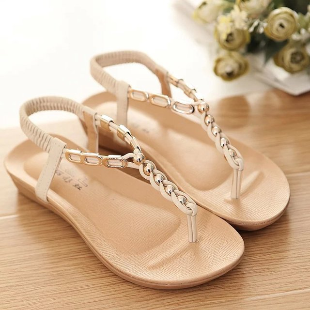 d3182329f New 2018 Vintage Summer Flat Sandals String Bead Women s Shoes Belt Clip  Flip-flop Shoes Black And Beige
