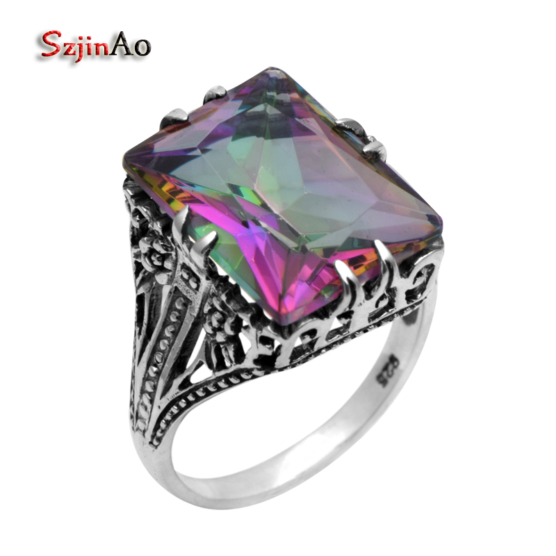 Szjinao 925 sterling silver rings for women fashion jewelry flowers antique ring rainbow mystic Topaz wedding ringsSzjinao 925 sterling silver rings for women fashion jewelry flowers antique ring rainbow mystic Topaz wedding rings