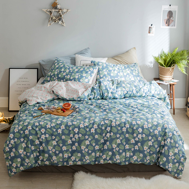2018 New Floral Style Bedding Set 3/4Pcs Twin Queen King Size Soft Cotton Bedlinens Duvet Cover Set Flat Sheet Pillow Cases