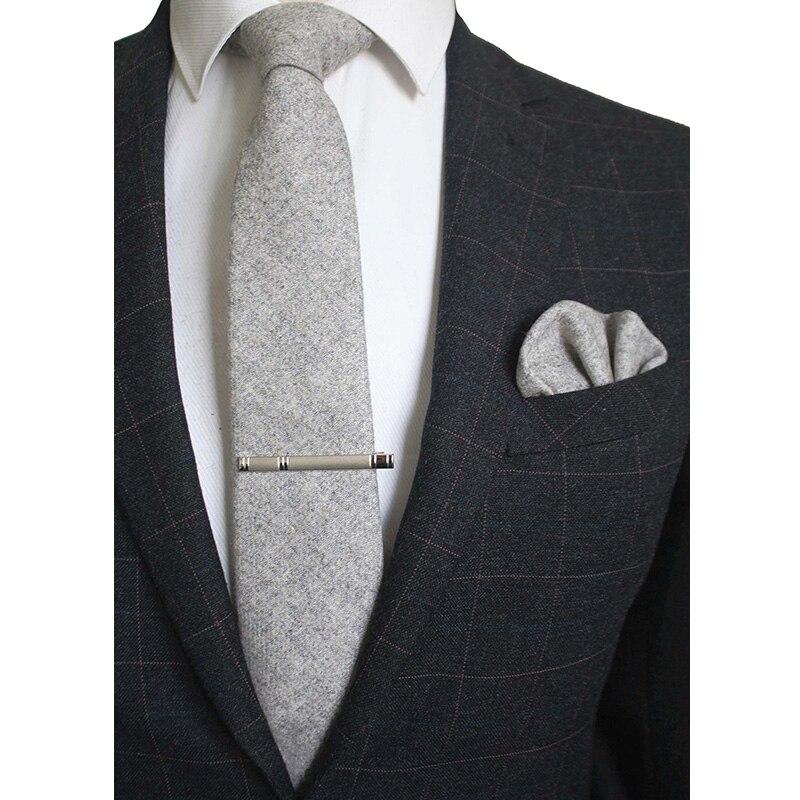 Conjunto Gravata De Lã Mens 8 RBOCOTT cm Clipe Xadrez Bolso Sólido Pescoço Laços Gravata Lenço Quadrado Marrom Vermelho Cinza Verde para Os Homens De Casamento