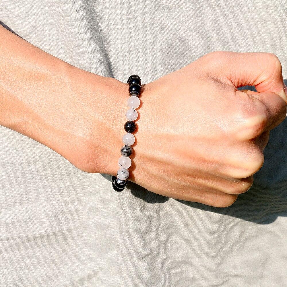 Populaire Poignet Mala Perles Équilibre Bracelet pour Homme Noir Onyx et  Rutile Quartz Guérison Bracelet Hommes Bijoux, cadeau De Noël 16a4068f9f4
