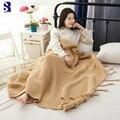 SunnyRain 1-piece Acrylic Knitted Blanket For Sofa Throw Blankets With Tassle 130x170cm