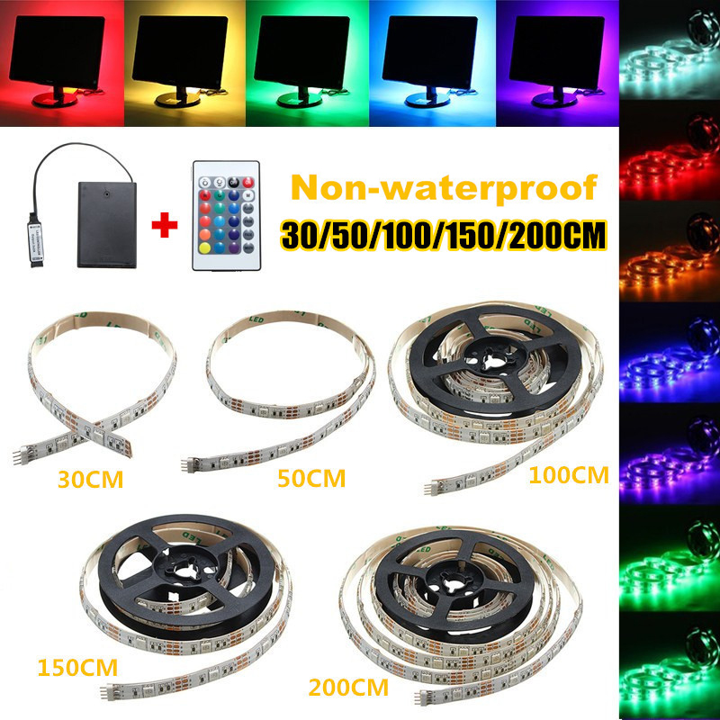 Flexible Waterproof/Non Waterproof 30/50/100/150/200cm RGB LED Strip Light SMD5050 Battery Powered Remote Control KTV LightingFlexible Waterproof/Non Waterproof 30/50/100/150/200cm RGB LED Strip Light SMD5050 Battery Powered Remote Control KTV Lighting