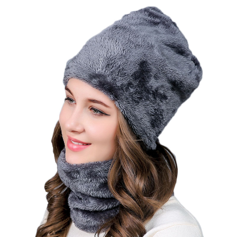 2 Pieces Set Winter Hats Neck Warmer for Women Girls Warm Soft Scarf Caps Fashion Knitting Wool   Skullies     Beanies