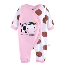 Milk Cow Print Clothes Baby Romper Milk Jumpsuit Dot Printed Cotton Body For Baby Girls 0 3 Month Clothes Baby Pink Overalls