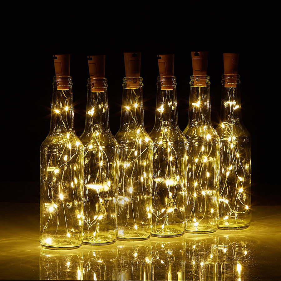 75CM 15Leds Cork Shaped Wine Bottle LED Copper Wire String Lights Halloween Christmas Holiday Party Ramadan Decoration Lights