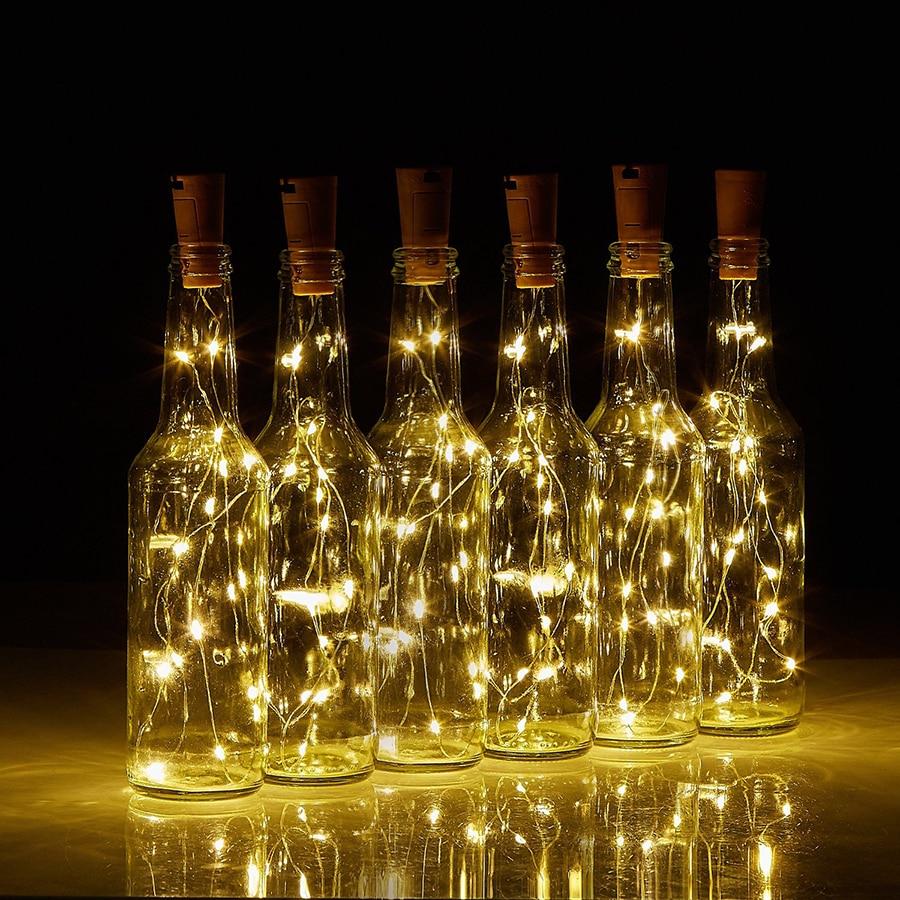 75CM 15Leds Cork alakú borosüveg LED Rézhuzal String Lights - Üdülési világítás