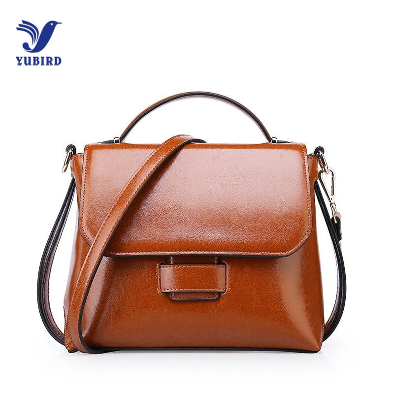 YUBIRD Oil Wax Women Leather Designer Handbag High Quality Cross Shoulder Bag Female Flap Bag Messenger Brown bolso marron mujer mengxilu oil wax leather women bag high