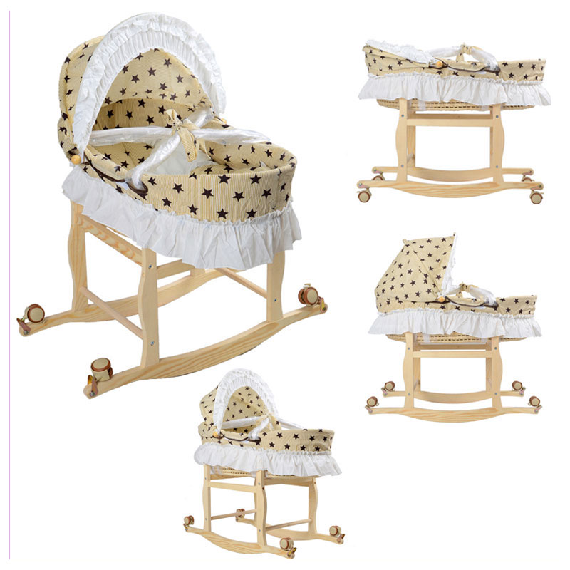 Travel Portable Baby Roller Bed Crib Folding Baby Sleeping Basket Bassinet For Newborn Baby Wood Rocking Crib With Wheels 0~9M