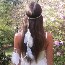 European and American Bohemian white peacock feather ostrich hair band travel holiday headdress decoration