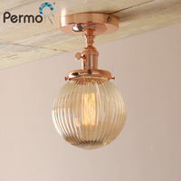 Permo Modern Wall Lamp Amber Glass Lampshade Wall Sconce Lights Fixture Vintage New Year Lighting Decor Bathroom Ceiling Lamp