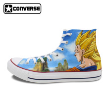 Women Men Shoes Converse Chuck Taylor Dragon Ball Son Goku Super Saiyan Custom Design Hand Painted Shoes Sneakers Man Woman
