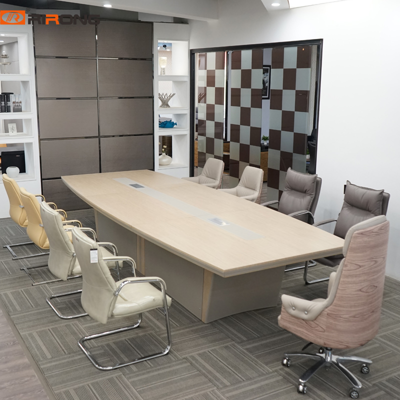 Loft Modern Luxury Leather With Wood Veneer Office Oval Shape Conference Customzied Meeting Table Desk