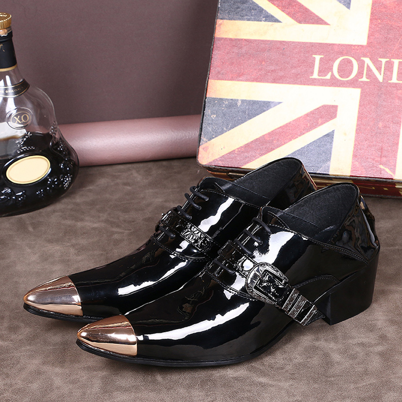 Men Shoes Patent Leather Office Lace Up Formal Black Oxford For Italian Loafers In S Casual From On