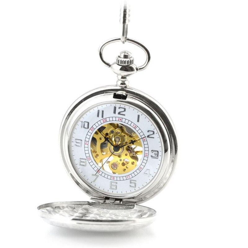 Relógio de Bolso do Vintage Relógio de Bolso Fob com Corrente Steampunk Skeleton Bronze Vento Mecânico Automático Homens Colar & Mão Mod. 141332