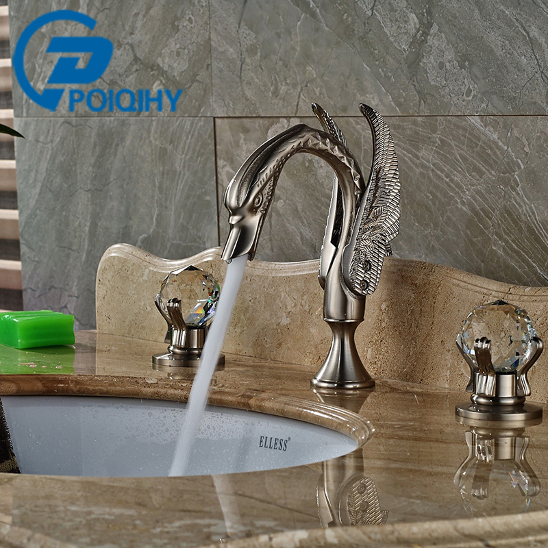 POIQIHY Basin Faucet Nickel Brushed Swan Shape Faucet Bathroom Crystal Handles Vanity Sink Mixer Tap 3 Hole