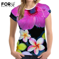 FORUDESIGNS T-shirts for Women 3D Tulipa lily Flower Orchid Tops Tees Summer Fashion T shirt ladies Tshirts Vetement Femme Plus