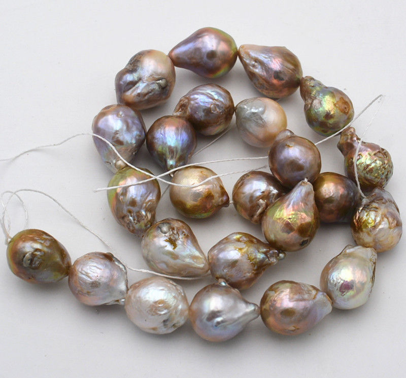 Natural 14x18mm Multicolor Baroque Edison Reborn Keshi Pearl loose beads 15AAA>>>Free shipping 16 inches 30 40mm aaa natural lavender fireball baroque pearl loose strand