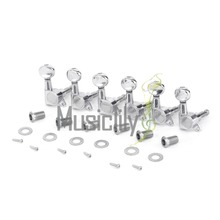 Musiclily pro Sealed Oval Button Electric Guitar Machine Heads Tuners Tuning Keys 6-In-Line Set, Chrome