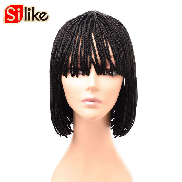 Silike 10 12 Inch Short Braided Bob Synthetic Wig Pure Natural Black Box Braid Wigs With