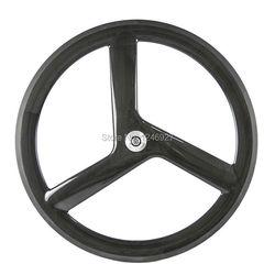 Gorąca sprzedaż 700C Tri mówił węgla koła rowerowe 56mm Clincher węgla koła do rowerów szosowych lub śledzić rower 3 koło szprychowe w Koła roweru od Sport i rozrywka na