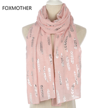 FOXMOTHER New Design Fashionable Womens Pink White Grey Yellow Wheat Flower Bronzing Foil Sliver Scarfs For Ladies