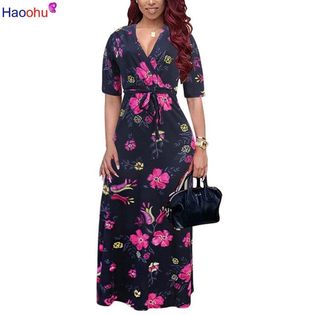 Flower Print Bohemian Floral Dress 2018 Short Sleeve Women Summer Midi Dresses Loose Casual Party Dress Robe 5XL Plus Size